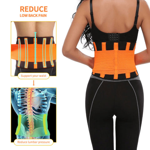Adjustable Thermal Waist Trimmer Lower Back Support Brace Belt Lumbar Compression Wrap Double Pull Fastener with Fever Pad Black