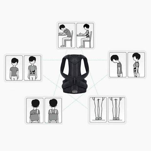 Posture Corrector,Back Brace for Women and Men Support straightener, Shoulder Lumbar Adjustable Posture Corrector for Improve Posture, for Neck, Back and Shoulder Pain Relief Black