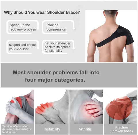 Shoulder Brace Sleeve Shoulder Cuff with Pressure Pad Adjustable Breathable Neoprene Shoulder Support Brace