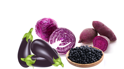 Purple and black-colored food