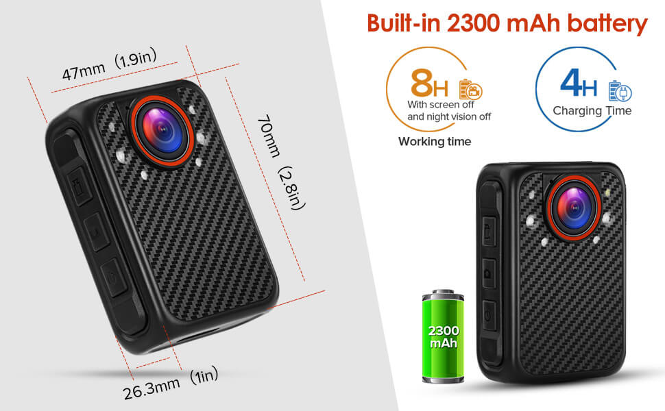 BOBLOVE X1 Camera's size is 70mm×47mm×26.3mm,it can record time continuously for 8 hours
