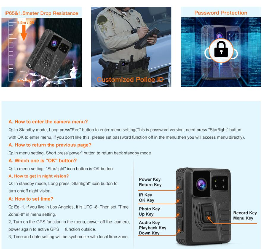 BOBLOV M852 Body Worn Camera gps for security officer.4