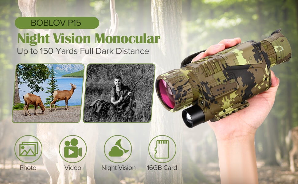 BOBLOV P15S Digital Night Vision Monocular 5x8 Optics Scope