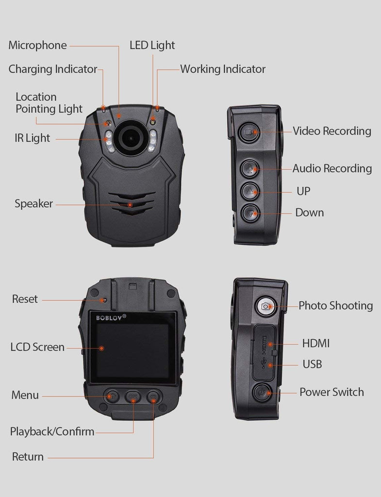 BOBLOV PD50 HD 1296P Body Camera buttons.9