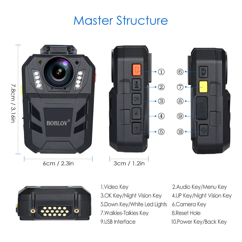 BOBLOV WA7-D Body Camera with Controller buttons