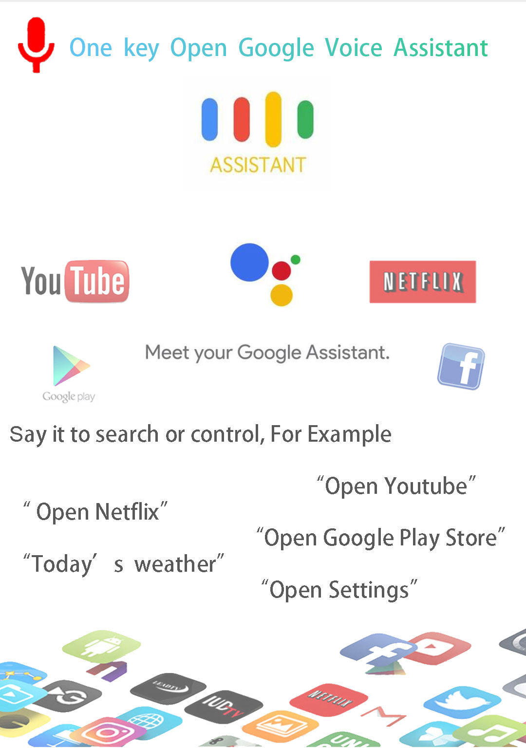 one key open Google voice assistant Air remote mouse
