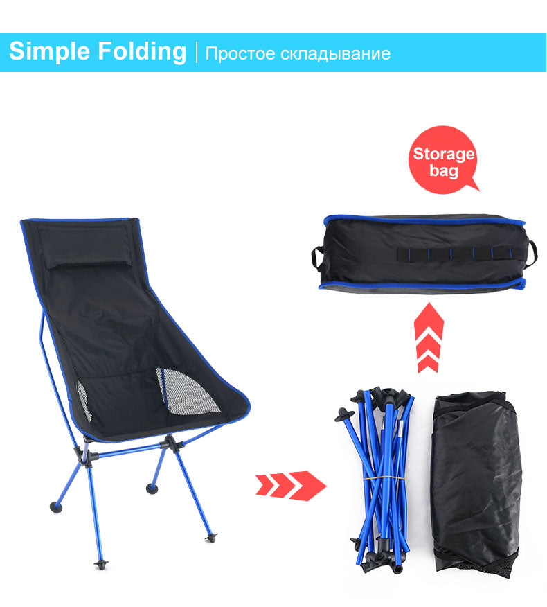 Outdoor Moon Chair Lightweight Fishing Camping BBQ Chairs Portable Folding Extended Hiking Seat Garden Ultralight