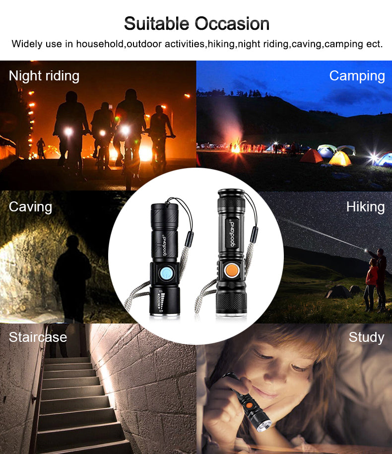 USB LED Flashlight Rechargeable LED Torch Light Lanterna T6 High Power Battery Lantern Tactical Flashlight for Bicycle