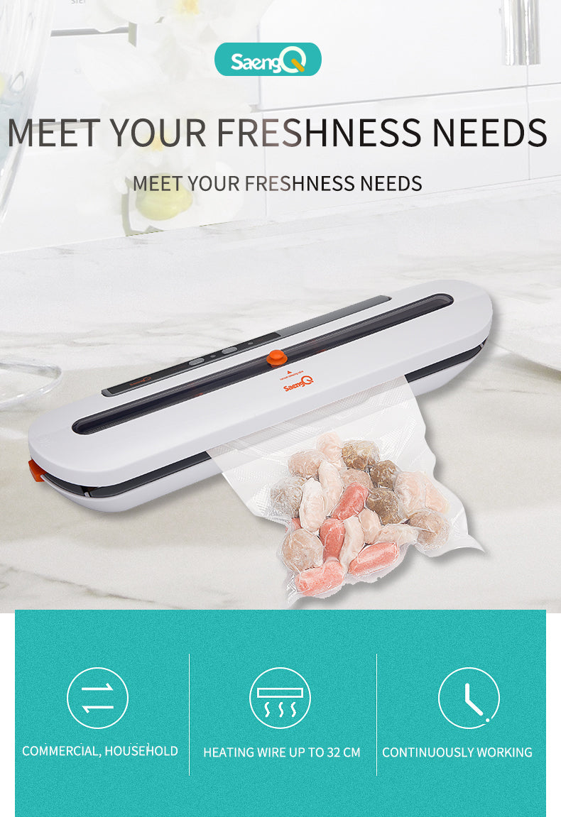 Best Food Vacuum Sealer 220V/110V Automatic Commercial Household Food Vacuum Sealer Packaging Machine Include 10Pcs Bags