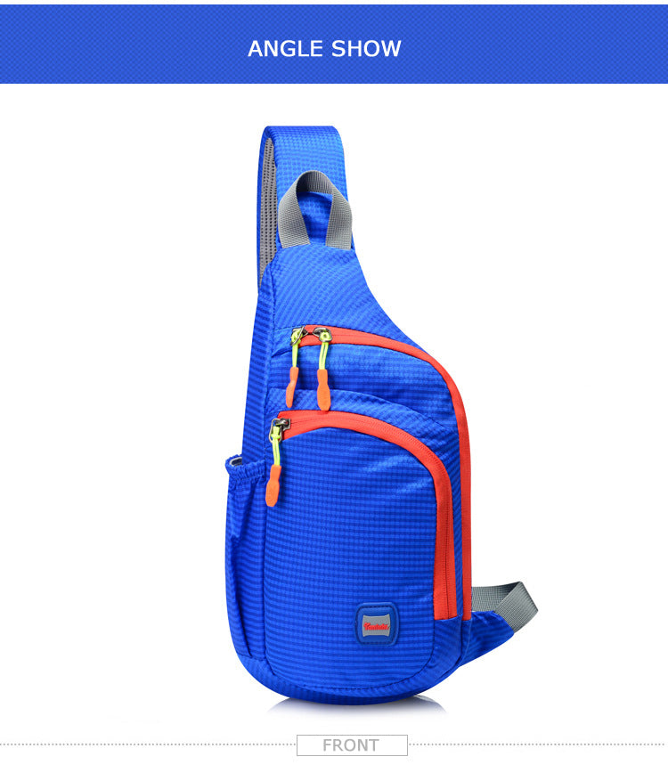 Waterproof Nylon Outdoor Sports Anti Theft Bag Climbing Hiking Cycling Bottle Holder Shoulder Cross Body Chest Bag