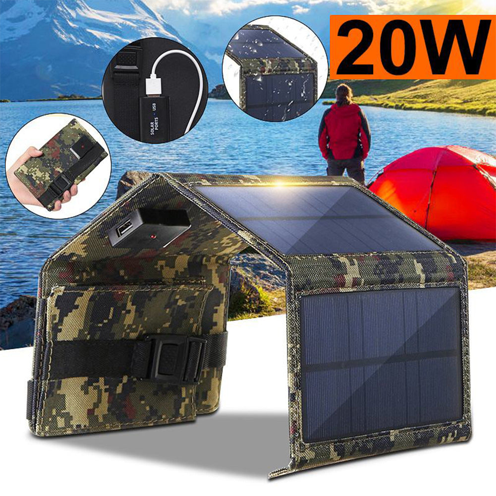 20W USB Foldable Solar Panel Flexible Small Waterproof 5V Folding Solar Panels Cells For Smartphone Battery Charger