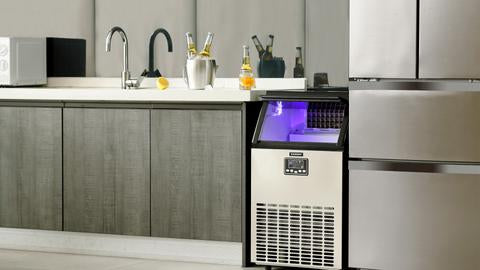 commercial ice maker with various beverages