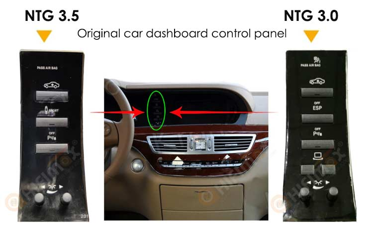 original NTG 3.0 and NTG 3.5 car dashboard control panel is different