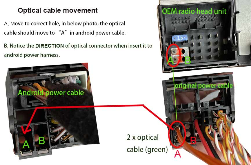move the optical cable to new android power harness