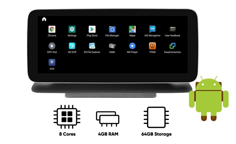 Mercedes Benz CLS android navigation screen with 8 cores CPU 4GB RAM 64GB ROM