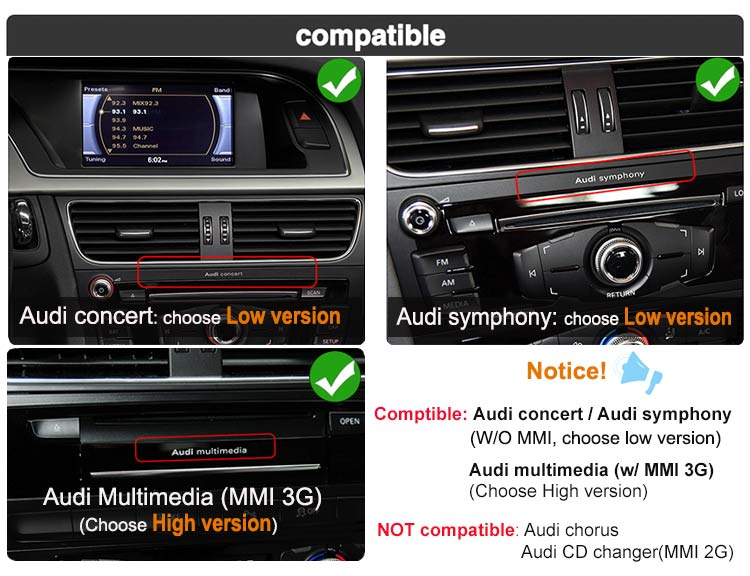audi concert audi symphony audi multimedia is compatible for android screen