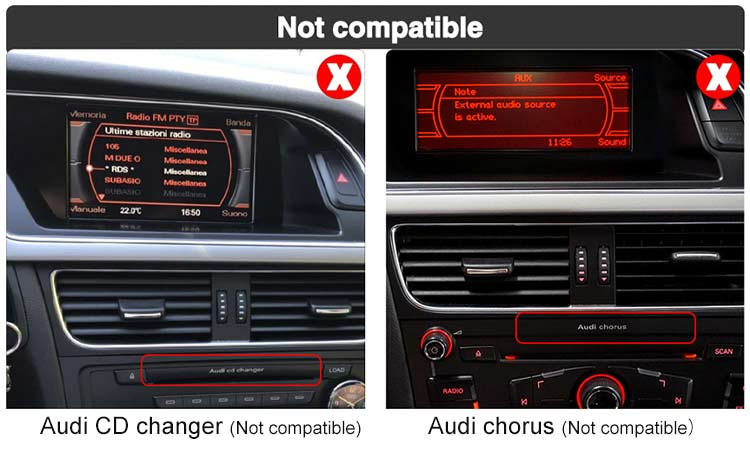 audi chorus & audi cd changer not compatible with android screen