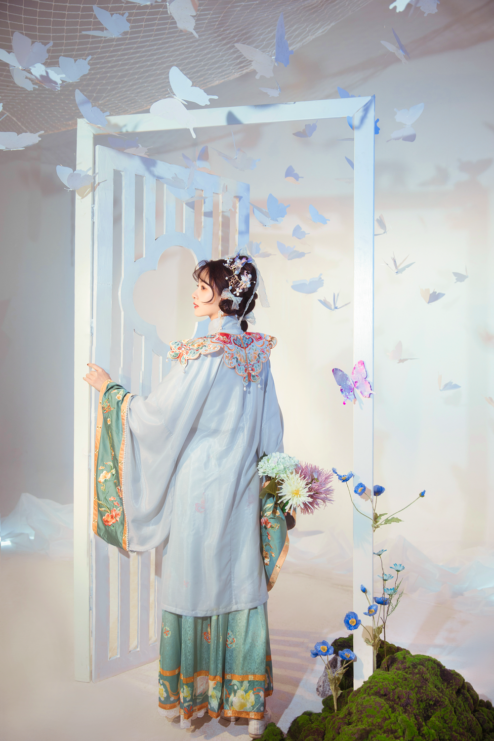 Handmade Embroidery Floral Women Dress Vintage Chinese Hanfu Suit Girls Cosplay Costume 2 Pieces Set Pleated Skirt - DIELING