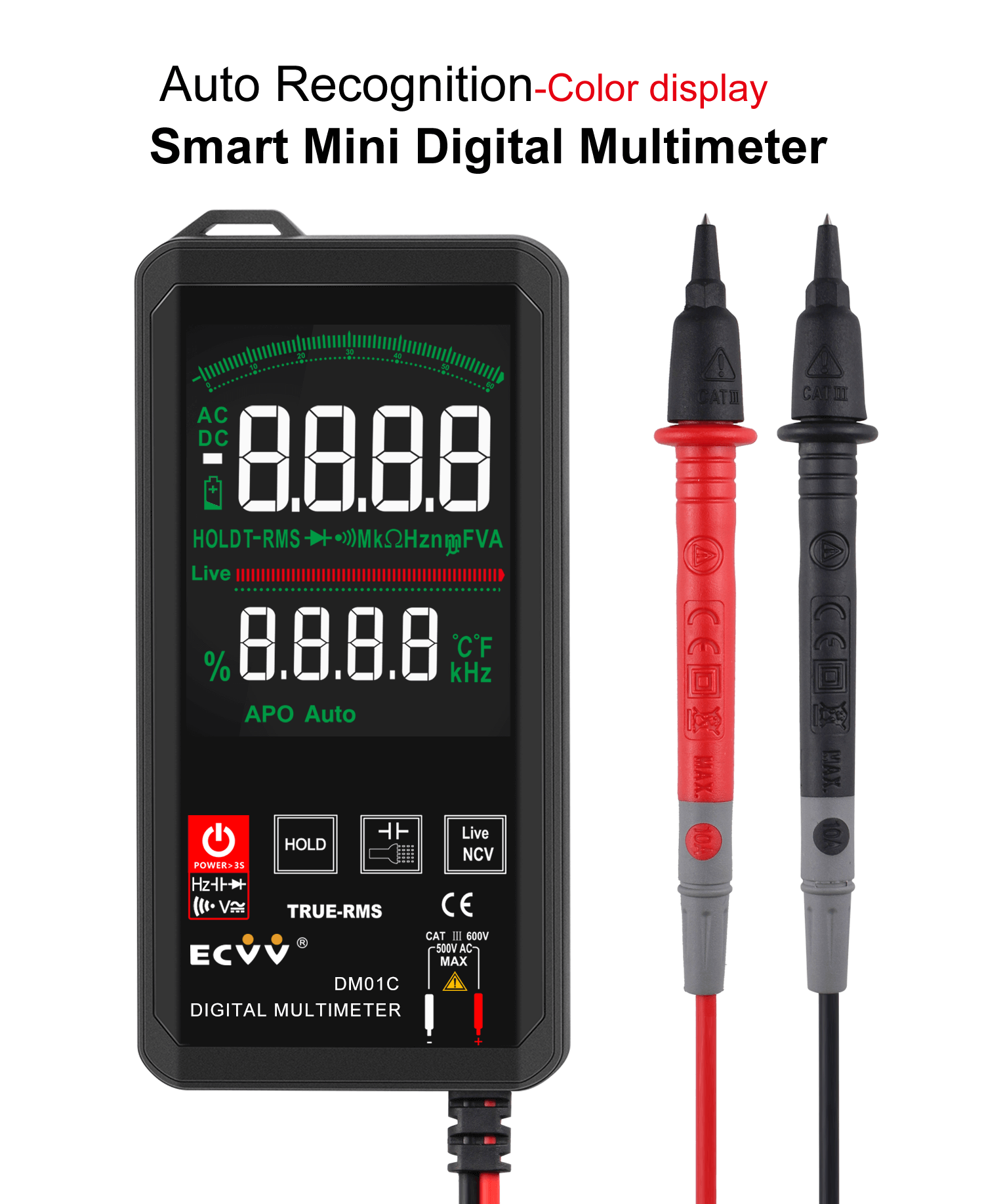 ECVV Touch Screen Digital Multimeter Color Display Auto Recognition-1