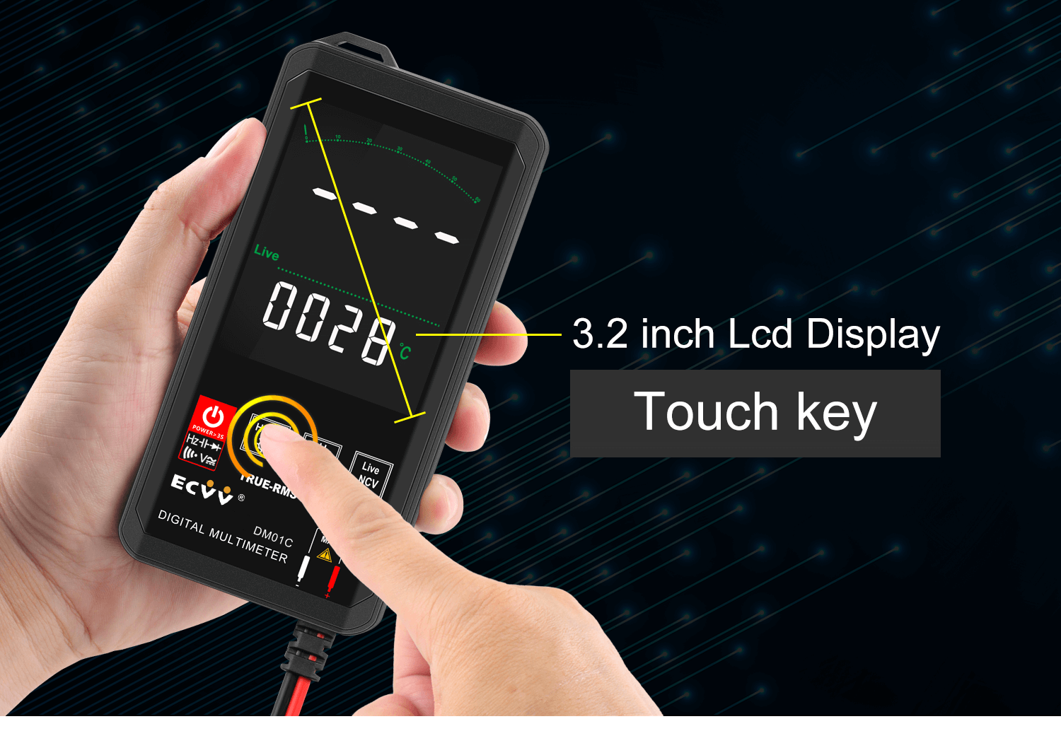 ECVV Touch Screen Digital Multimeter Color Display Auto Recognition-2
