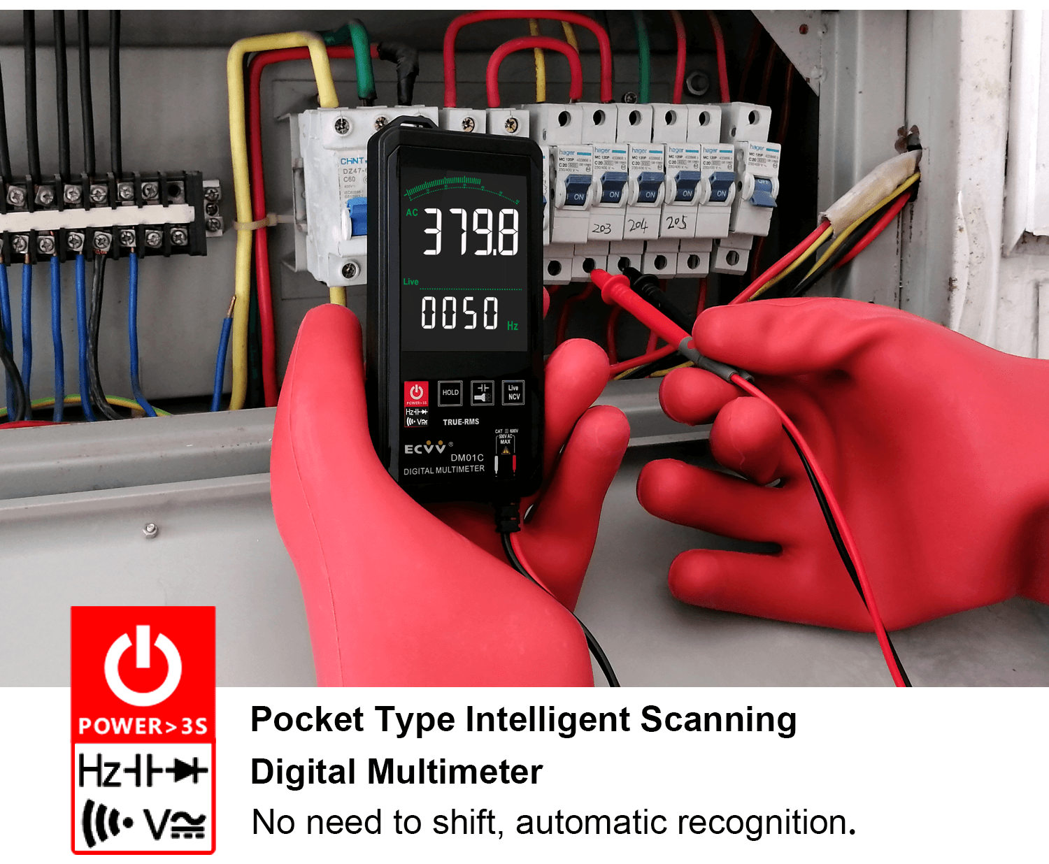 ECVV Touch Screen Digital Multimeter Color Display Auto Recognition-7