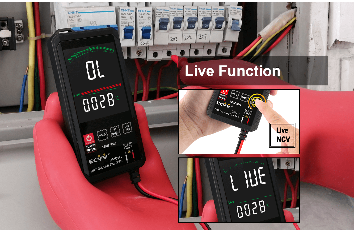 ECVV Touch Screen Digital Multimeter Color Display Auto Recognition-8