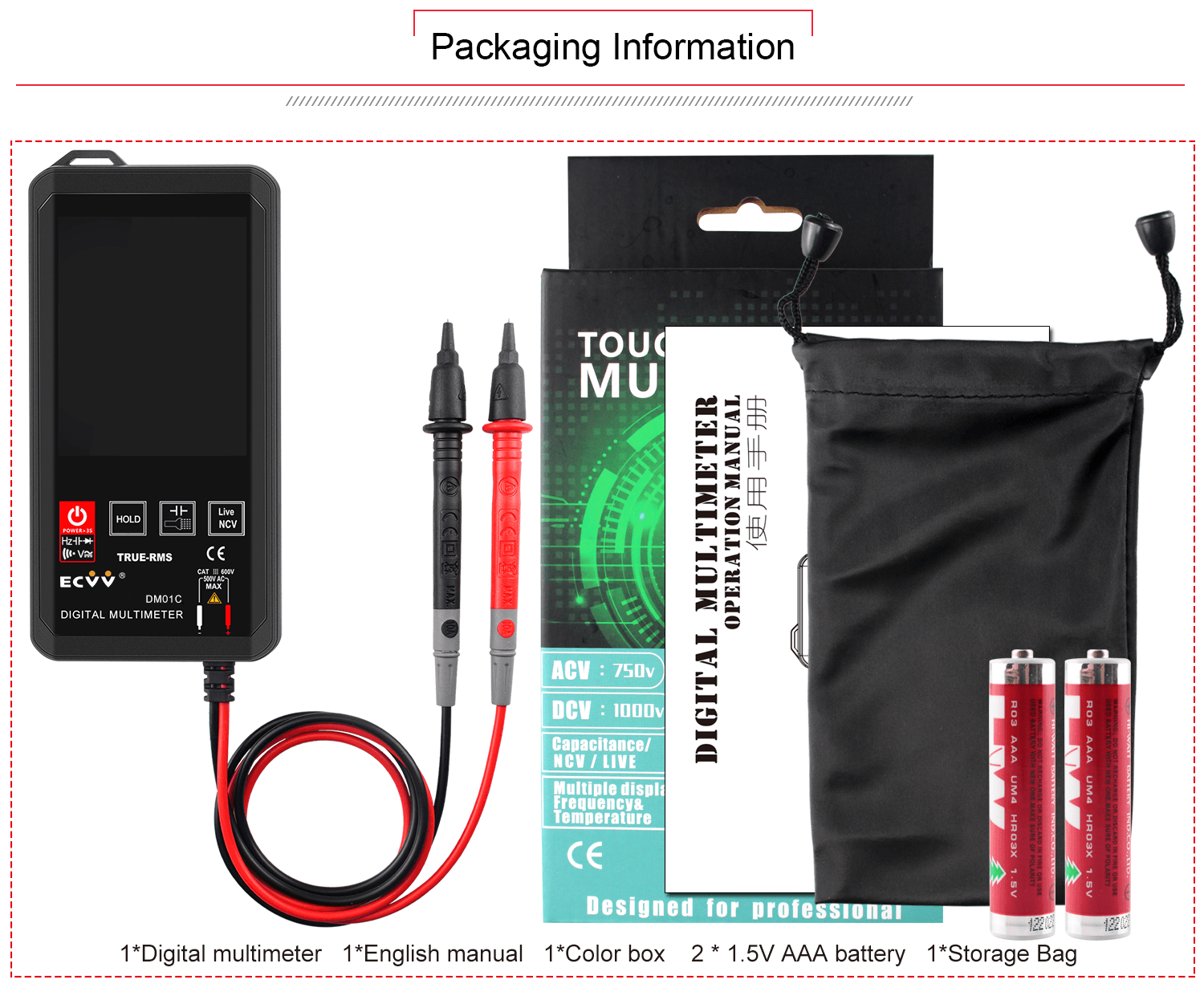 ECVV Touch Screen Digital Multimeter Color Display Auto Recognition-14