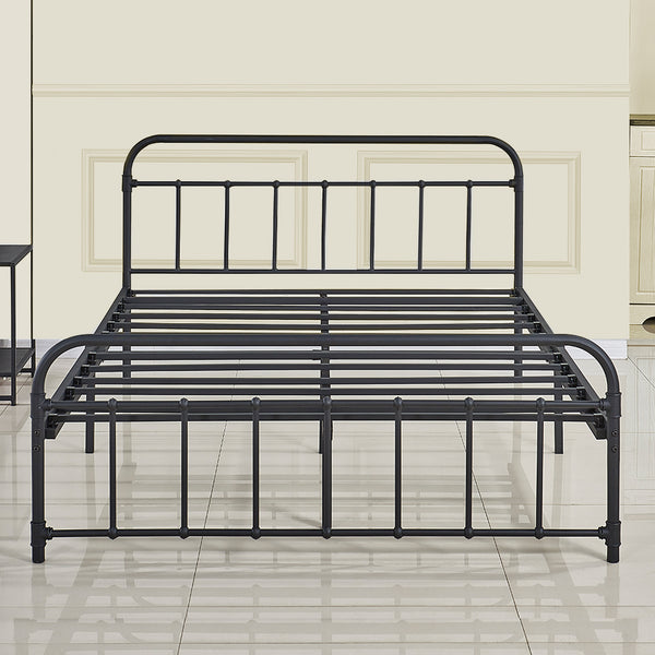 Vintage Style Platform Bed Frame Queen, Queen Metal Bed Frame With Headboard Only