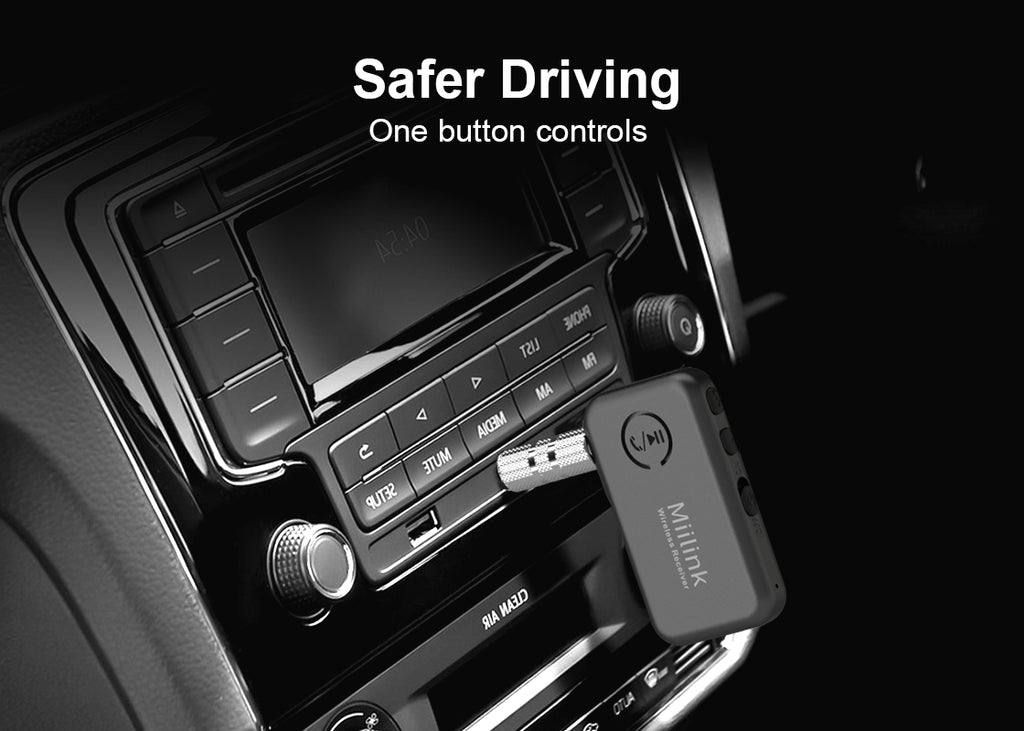1Mii MiiLink Bluetooth 5.0 Music Receiver for Car, one button controls ensure drive safely
