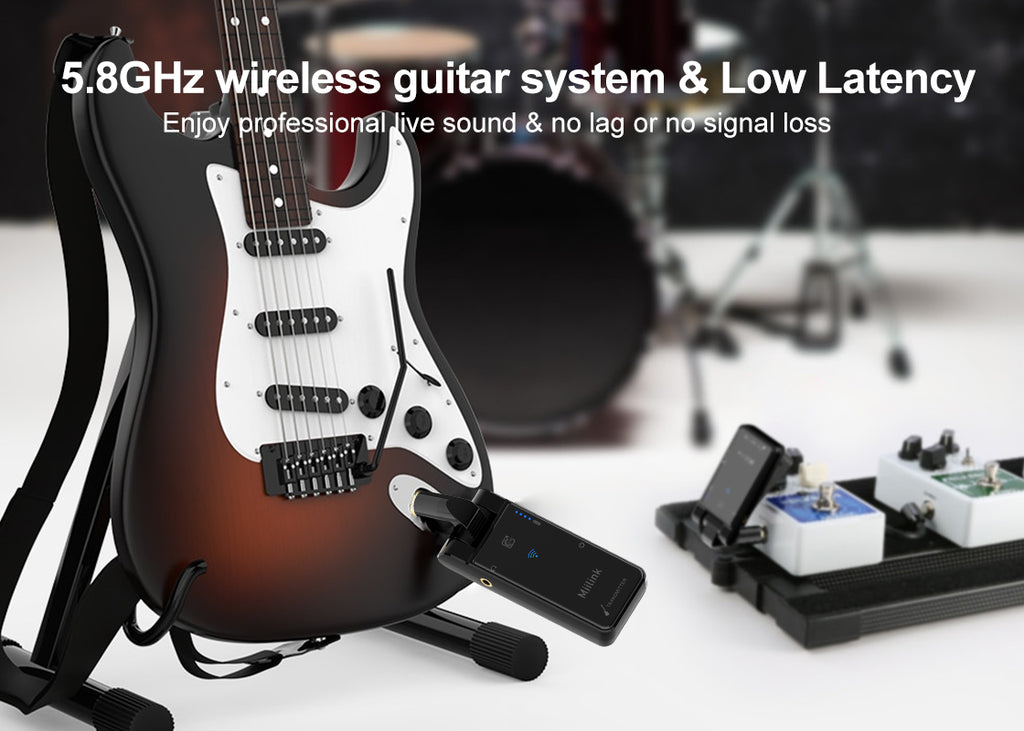 1Mii 5.8GHZ Wireless Guitar System ,no lag or no signal loss, supports uncompressed signal transmitting.