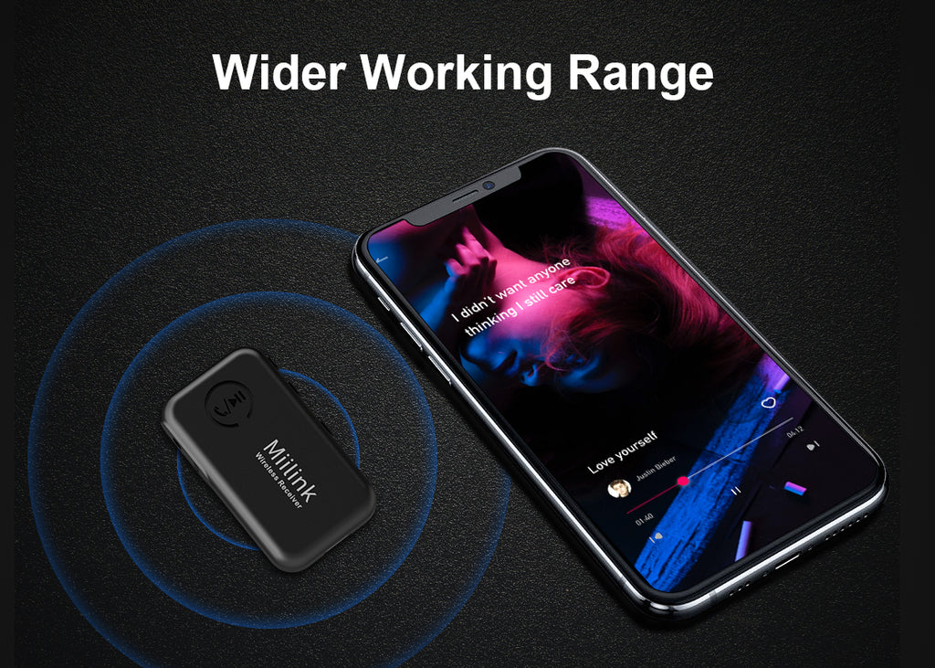 MiiLink Bluetooth receiver can transmit UP TO 70 feet (20 meters), long range of solid and fast connection ensure a wonderful using experience.