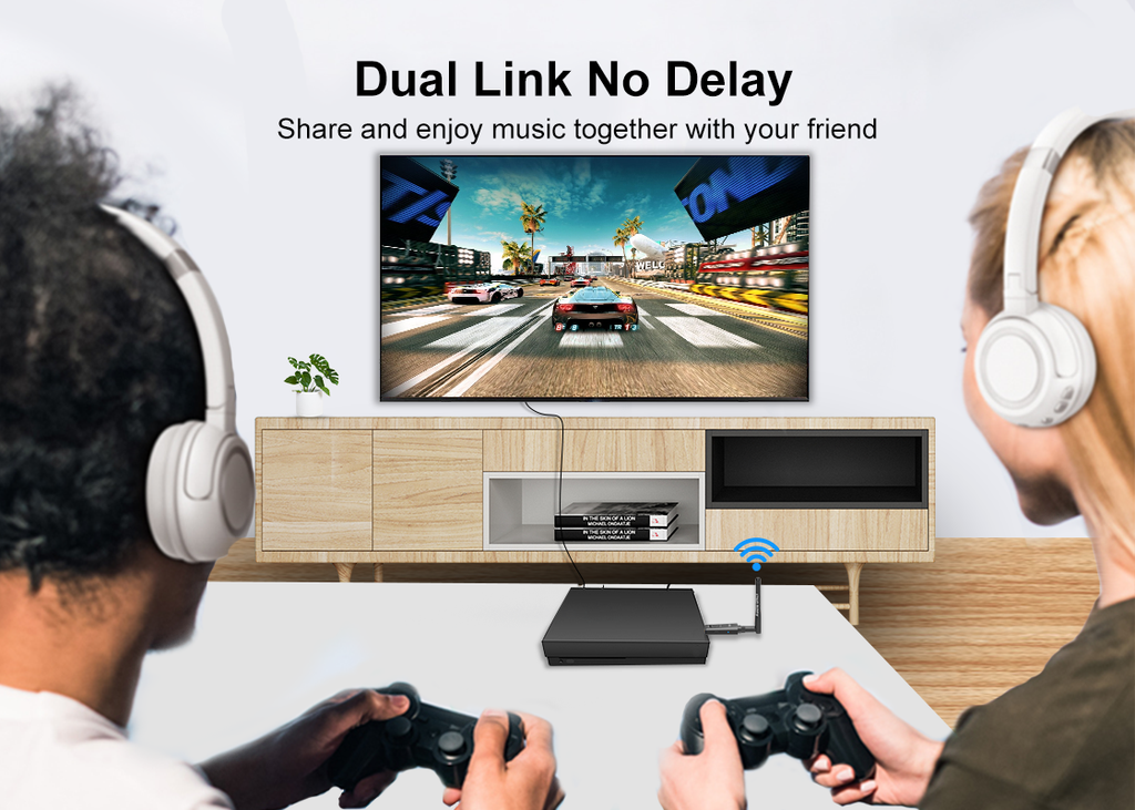 1Mii Long Range Bluetooth USB Audio Adapter for PC  can connect 2 headphones at the same time