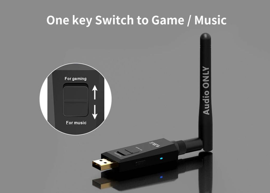 one key switch game/ music with 1mii USB bluetooth audio transmitter