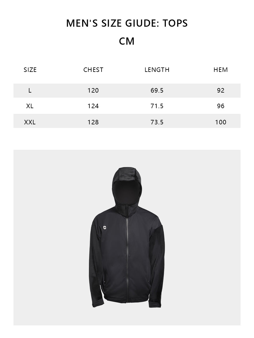 Size chart of Men's Waterproof Full-zip Hoodie UPF50+