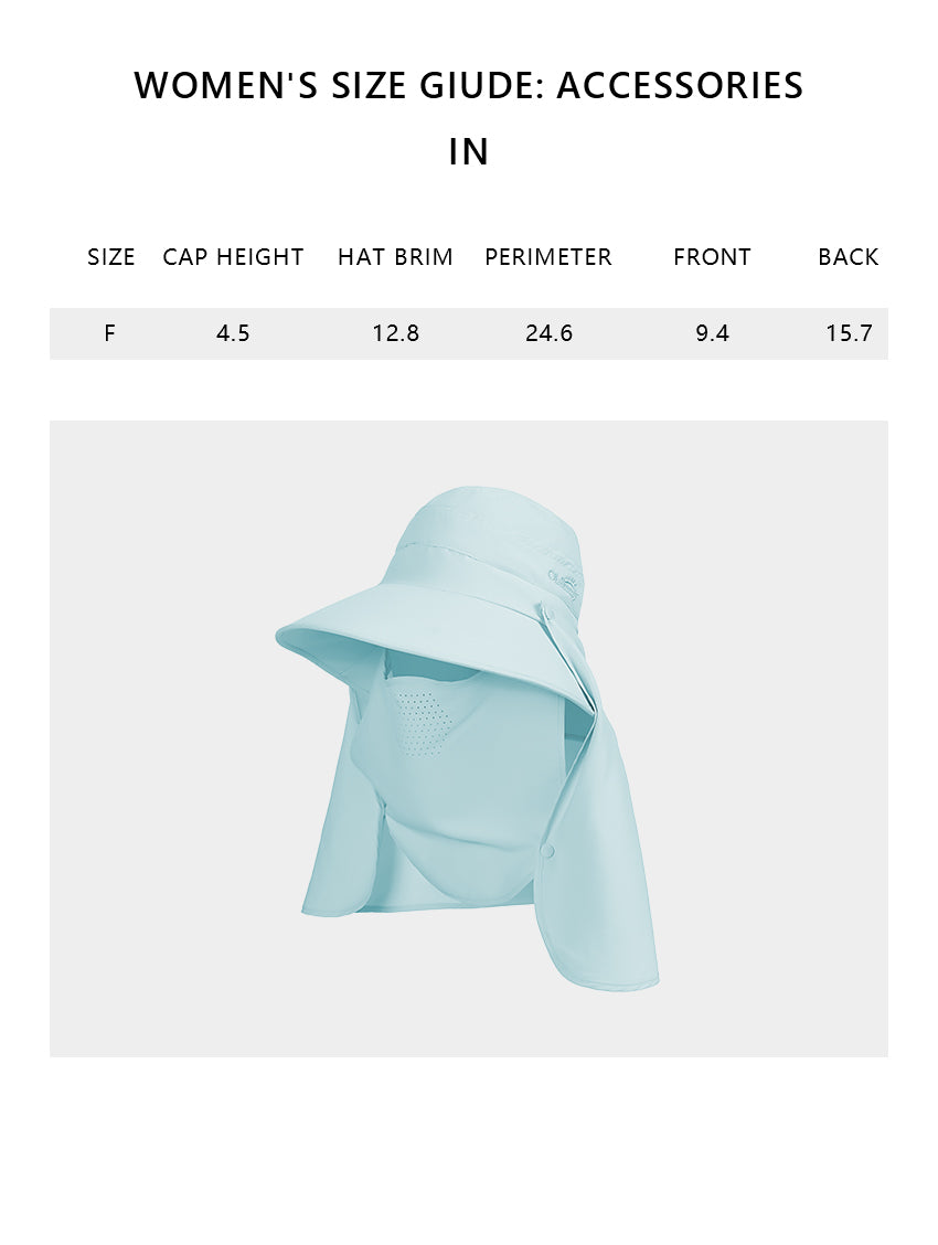 Size chart of Products Unisex Fishing Hiking Sun Protection Face Neck Cover Flap Hat UPF 50+