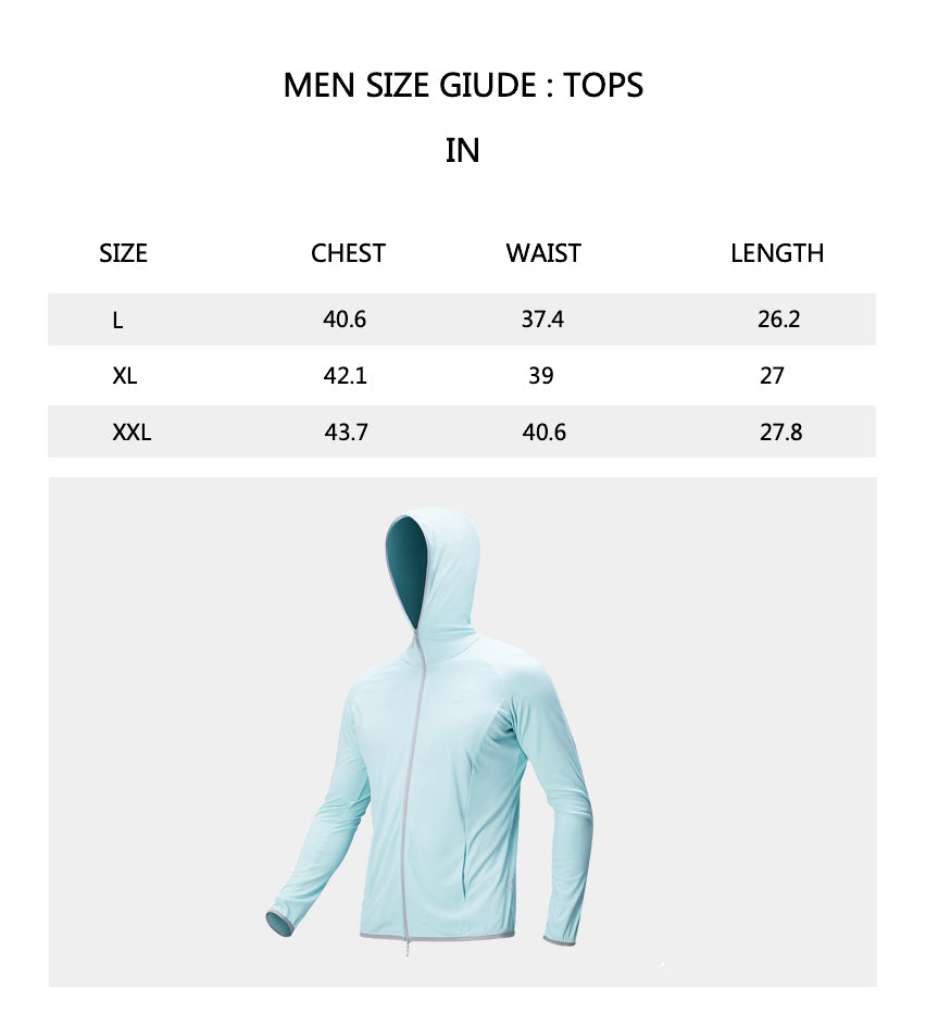 Size chart of Products Men's Full Zip Quick-Dry Classic Sun Protective Jacket UPF50+