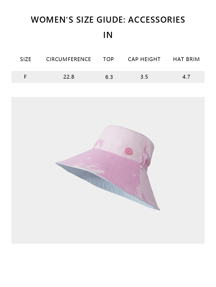 Size chart of Women's Large Brim UV Protection Reversible Double-Side-Wear Distressed Gradient Bucket Hat UPF 50+