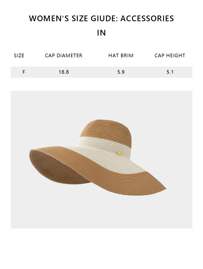 Size chart of Products Women's 5.5 Inches Wide Brim Floppy Foldable Roll up Straw Hat UPF 50+