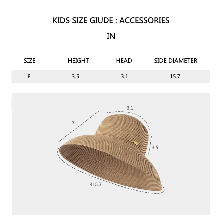 Size chart of Women's Wide-Brim Foldable Fedora Beach Straw Hats UPF 50+