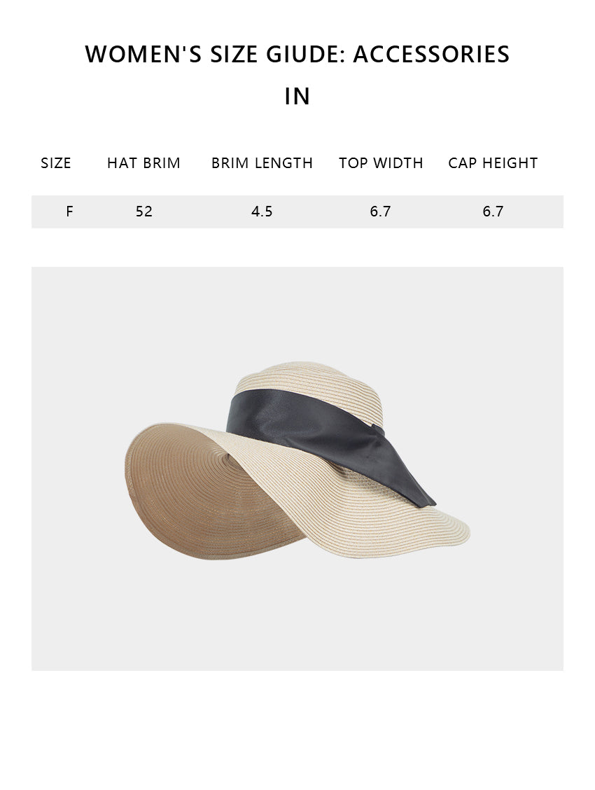 Size chart of Products Women's Wide Brim Floppy Foldable Roll up Straw Hat UPF 50+