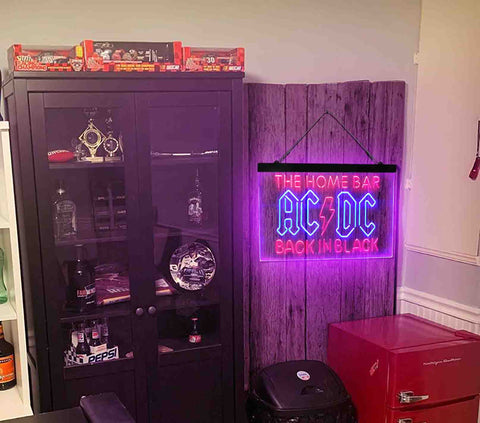 AC/DC Back in Black Music Band Custom Personalized man cave sign-pro led sign