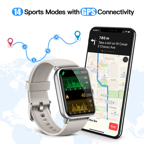 Dirrelo smartwatch support 14 sport modes, monitor and track body data start your healthy life. outdoor run, indoor run, hiking, indoor cycle, open water swim, yoga,rower, elliptical