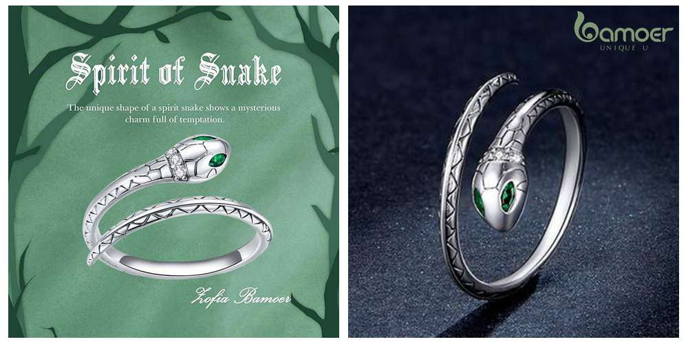Jewelry for Dad from Daughter Bamoer Silver Snake Ring