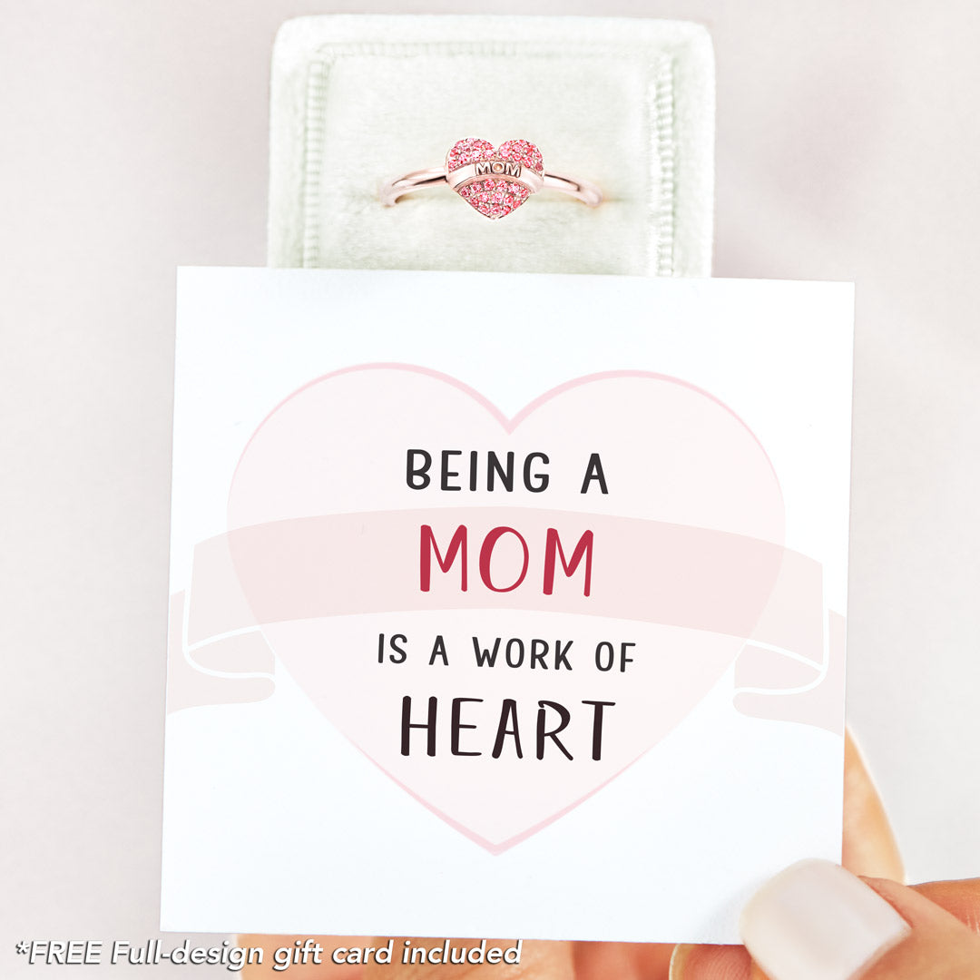 Pavé MOM Heart Ring - Being A Mom Is A Work Of Heart
