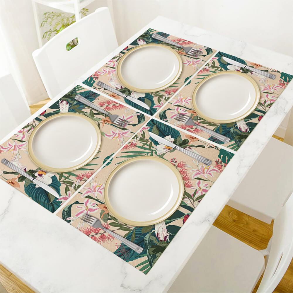 Linen Placemat Square Placemat Custom Design Printing with Your Photos Pictures or Text