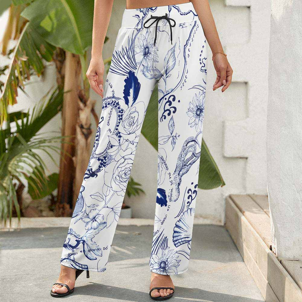 Women's Casual Loose Wide Leg Pants Trouser NZ203 Custom Design Printing with Your Patterns or Text