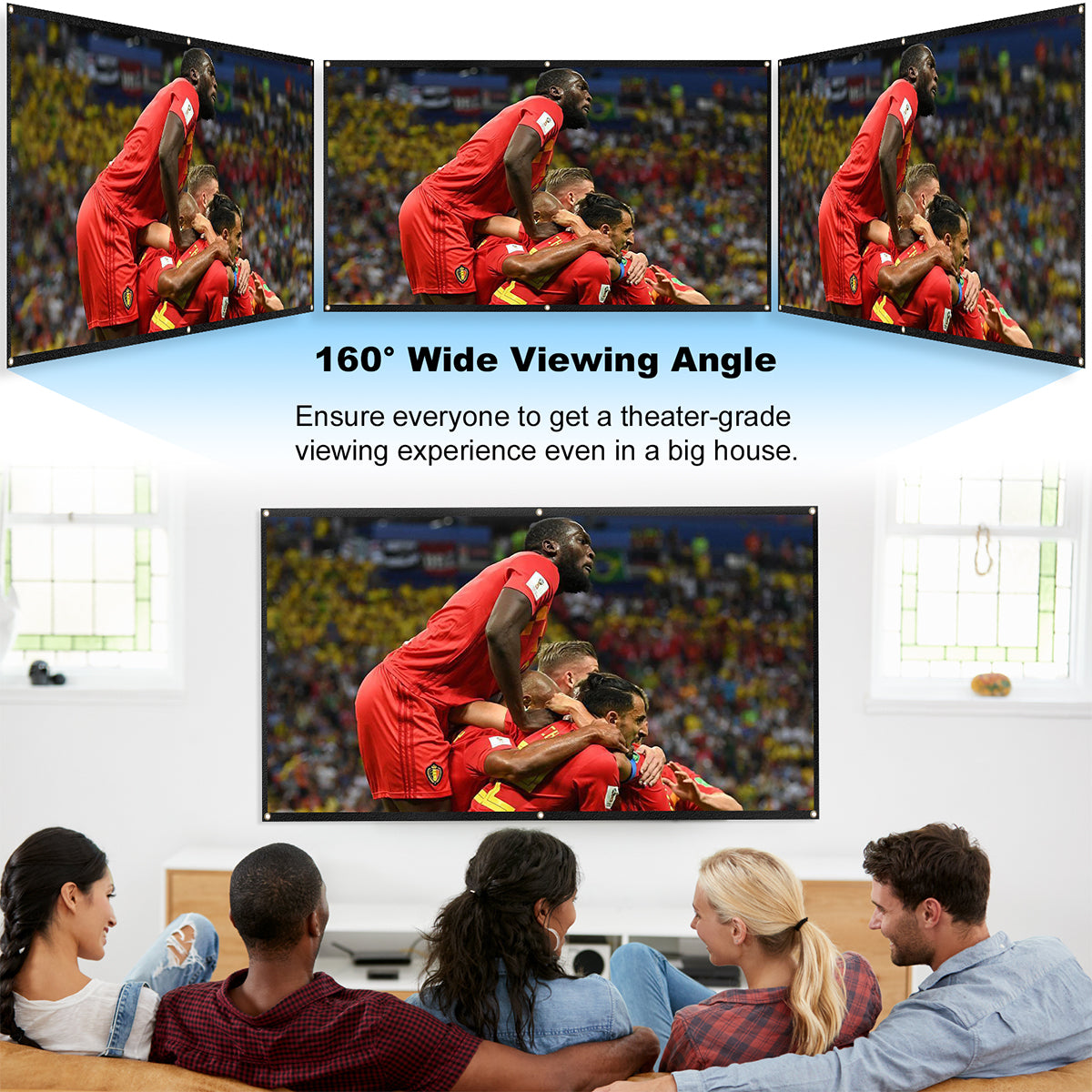 160° wide viewing angle