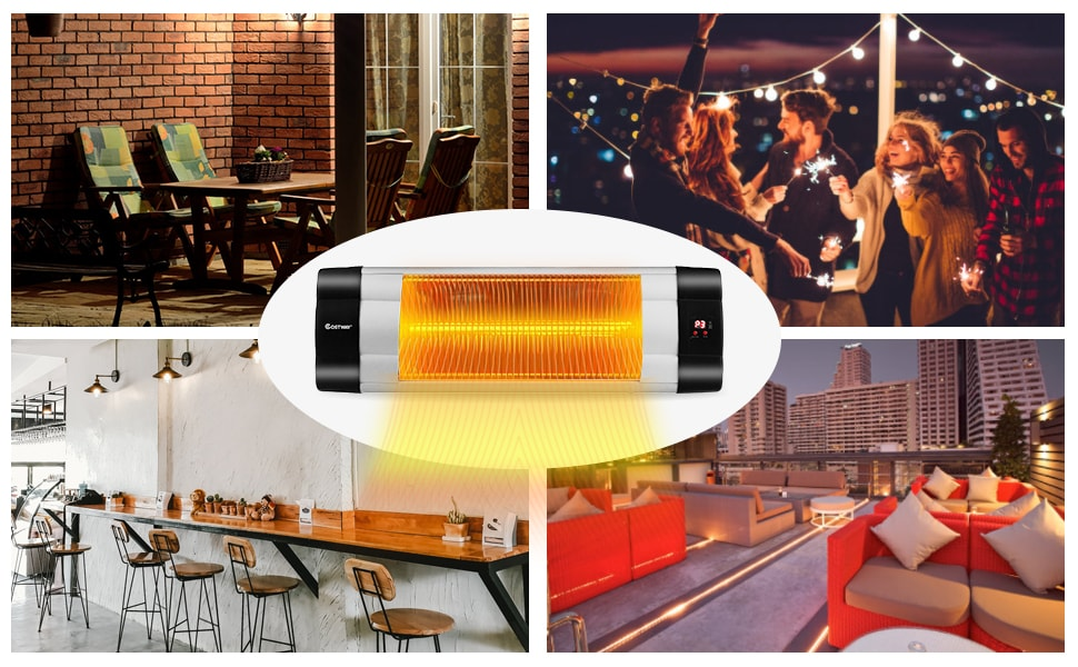 1500W Wall-Mounted Infrared Patio Heater 24H Timer 3 Modes Adjustable
