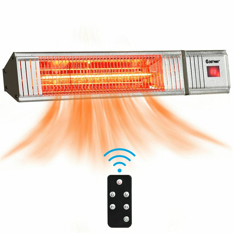 1500W Wall-Mounted Infrared Patio Heater with 9-Level Adjustable and 24H Timer