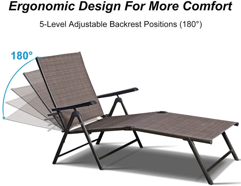2 Pcs Outdoor Patio Chaise Lounge Chair Adjustable Pool Recliner